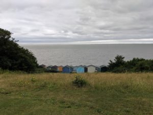 BEach huts and the sea at Whitstable