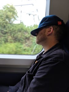 Tim asleep on the train home from Whitstable